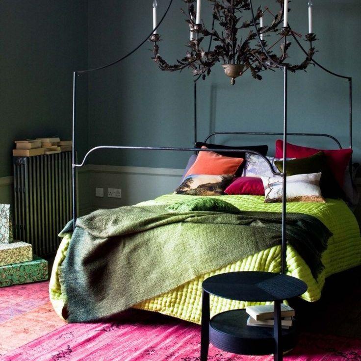dark moody bedroom interior design with bright