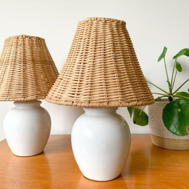 Vintage Ceramic Wicker Table Lamps Cane Rattan Table Desk