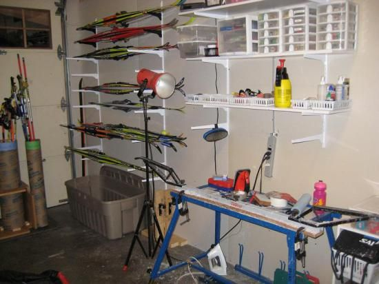 waxing bench in garage - like the ski storage and open baskets for small tools & 38 best for the ski club images on Pinterest   Nordic skiing Ski ...