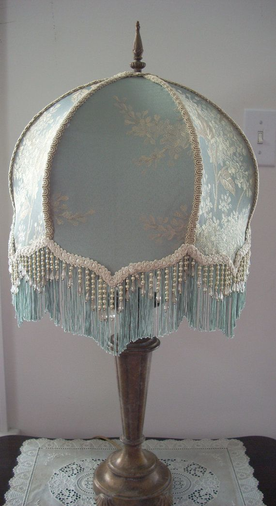 Blue Hand Made Victorian Lamp Shade With Pearl By