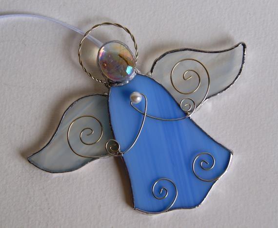 Blue Angel Stained Glass Suncatcher Christmas by GlassByKat