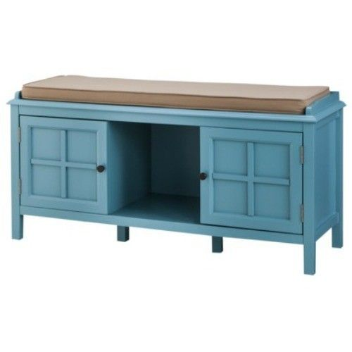Entryway Bedroom Bench Teal Cushion Seat Hardwood Shoe