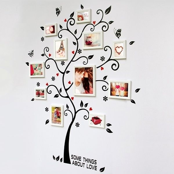 Removable wall stickers photo frame tree DIY stickers wall decal living room home decoration