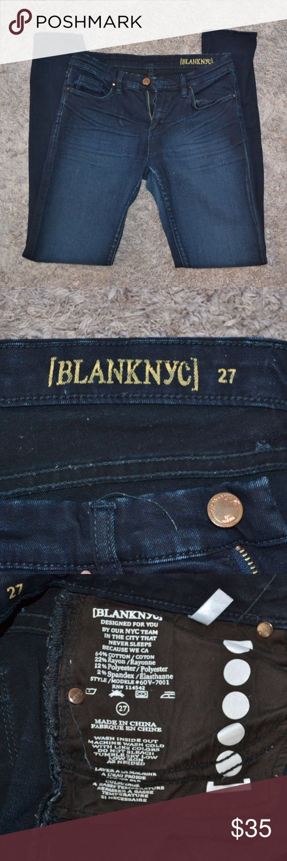 """BLANK NYC Dark Ink Skinny Jeans EUC. Worn <3 times.  Very dark blue color.  Super stretchy and comfortable.    31"""" inseam. 14"""" across when laying flat. 64% cotton. 22% rayon. 2% spandex. Blank NYC Jeans Skinny"""