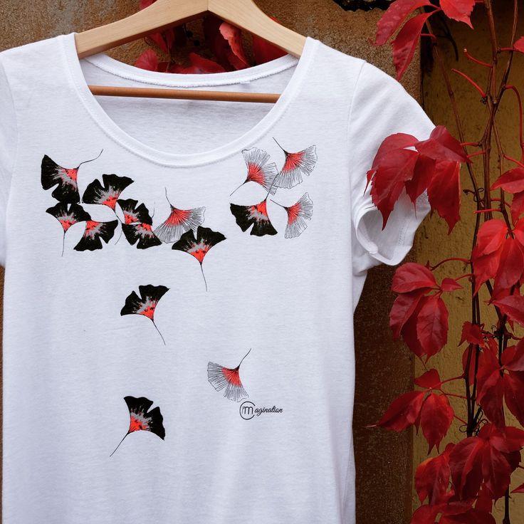 T-shirt illustration ginkgo, watercolor