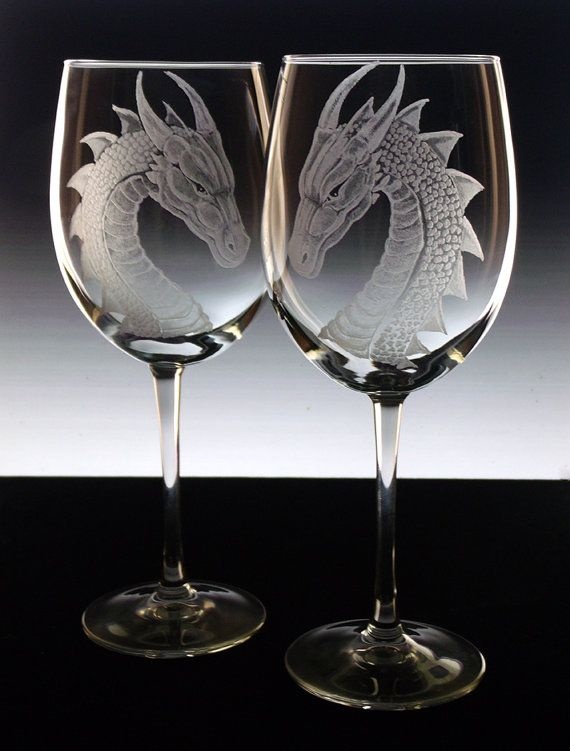 Dragon wedding glasses , bride groom , wedding toast , glassware custom , engraved glass personalized wine glasses goblets housewares decor
