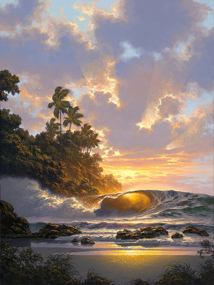 Golden Interlude By Roy Seascape Artists Beautiful