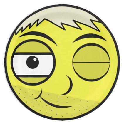 Smooth Face Paper Plate - funny comic style comics geek geeks lol fun cyo