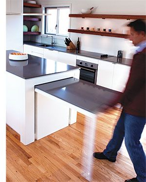 Hideaway Kitchen Table,  great idea for condos with limited, open living and kitchen spaces for those who love to entertain.