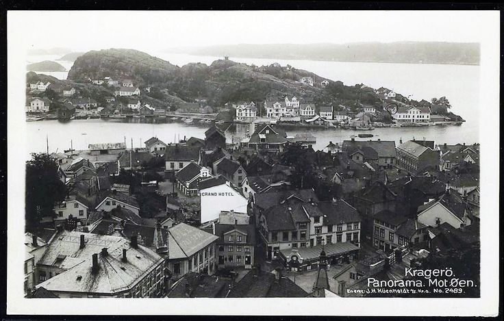 Telemark Kragerø Panorama mot Øen. Grand Hotell Utg Küenholdt tidlig 1900-tall