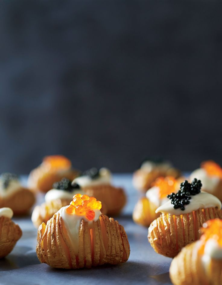 We just love a Hasselback potato, with its crispy pull-apart edges and moist, soft interior. So we figured that mini Hasselback tots—or Hasseltots—would make an adorable appetizer. A little crème fraîche and caviar, though, take them right on into elegant hors d'oeuvres territory. And with no forks required, this 2-bite appetizer is perfect for cocktail parties where guests will be juggling drinks and nibbles. Choose a sustainable (and budget-friendly) fish roe as an alternative to…