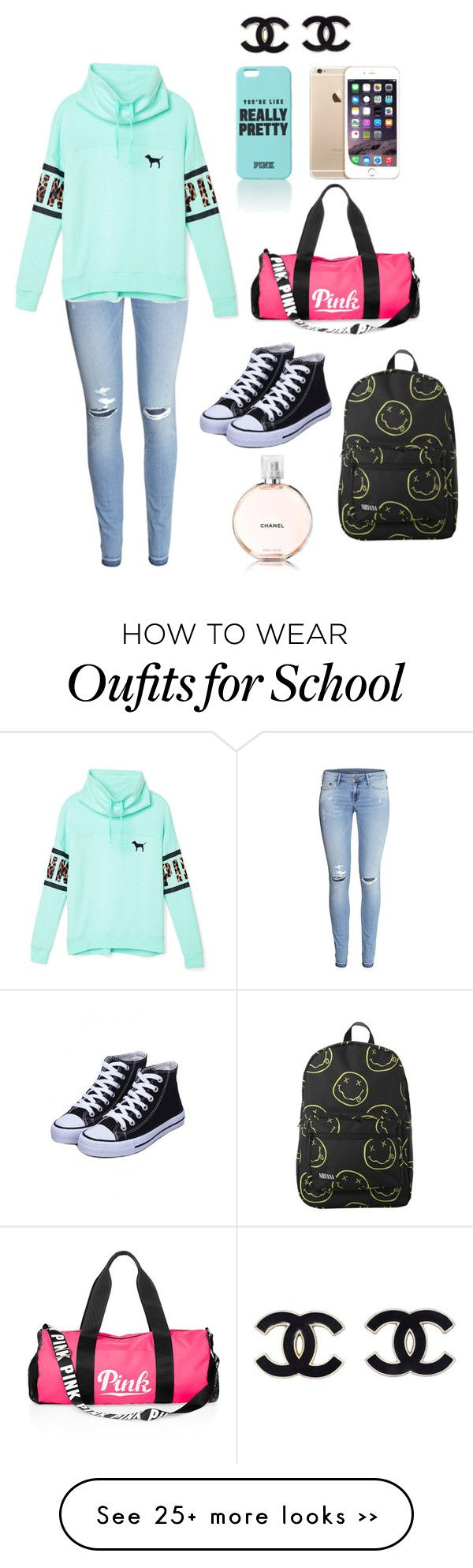 """""""School"""" by savannahroach95 on Polyvore featuring H&M, Victoria's Secret PINK and Chanel"""
