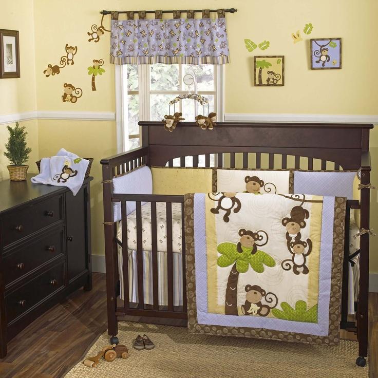 Cocalo Monkey Time Four Piece Crib Set Pair With The Melanie Nursery IdeasBaby