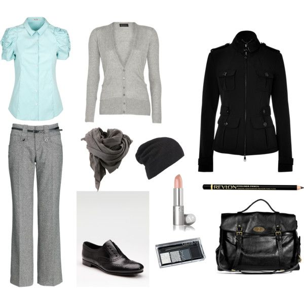 Have the grey pants need to add a splash of light blue.  It complements the gray.
