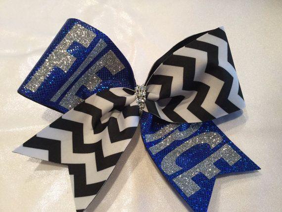 FIERCE Chevron and Royal Blue Cheer Bow by BrendasCheerBows
