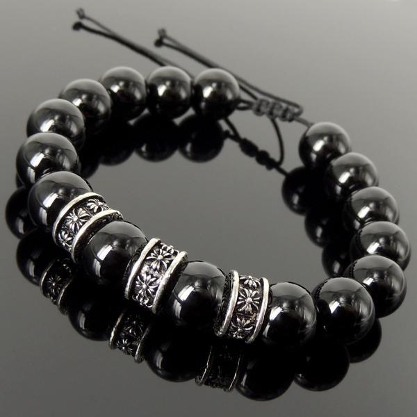 Hommes//Femmes Bracelet 6 mm NATURAL Lava Rock//Pierre S925 Sterling Silver Cross Bead