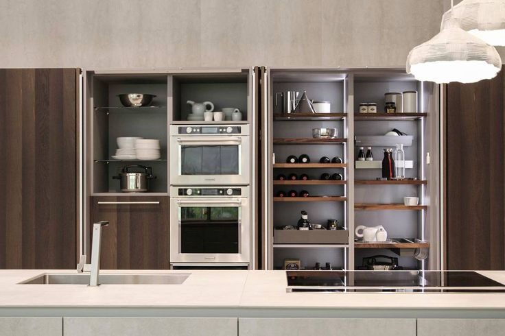 The cupboards of Way all come with retractable doors that open to reveal inner fixtures made specially by #Snaidero: the Passpartout collection. #Eurocucina #Isaloni 2016