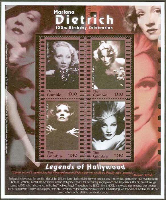 «100 лет Марлен Дитрих» (Marlene Dietrich: 100th Birthday), который в 2001 году выпустила Почтовая служба Гамбии
