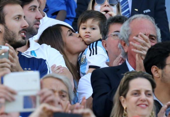 Lionel Messi's girlfriend Antonella Roccuzzo and son Thiago Messi supporting Messi at the Switzerland vs Argentina game