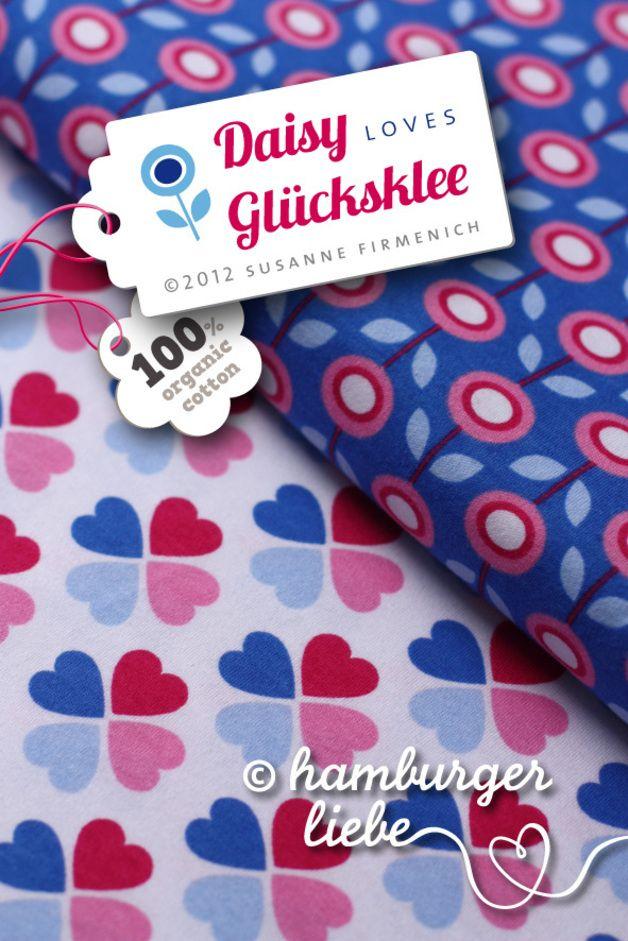 Stoff retro - Daisy Jersey Hamburger Liebe Stoff ✿ blau rosa - ein Designerstück von Villa-Stoff bei DaWanda