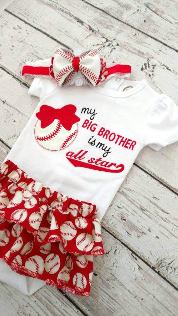 Girls baseball outfit  baseball sister  ruffle skirt baseball shirt baseball onesie baseball headband baby baseball outfit