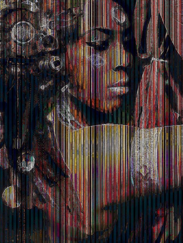Выборка из запутанных текстурированных портретов, созданных buckhead1111, он художник из Мауи, Гавайи. У работ очень характерный стиль.  - С использованием многих слоев красок и фото, я создаю текстуры, - говорит он.