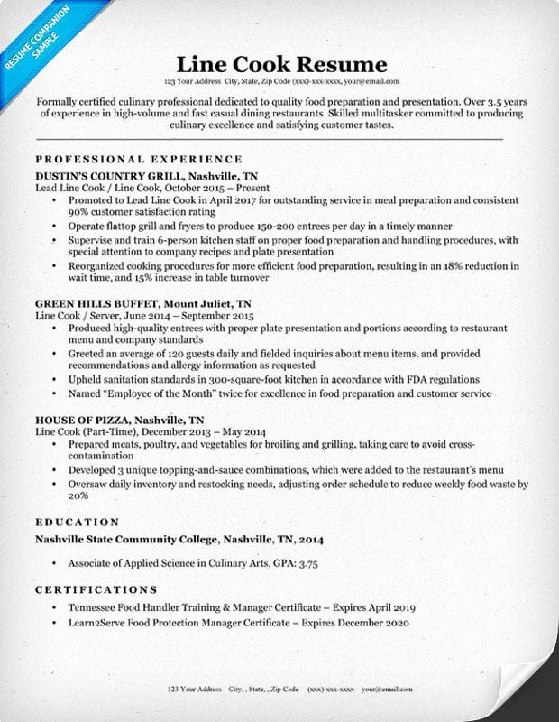 Line Cook Resume Example Beautiful Line Cook Resume Sample Writing Tips In 2020 Good Resume Examples Resume Examples Resume Template Examples