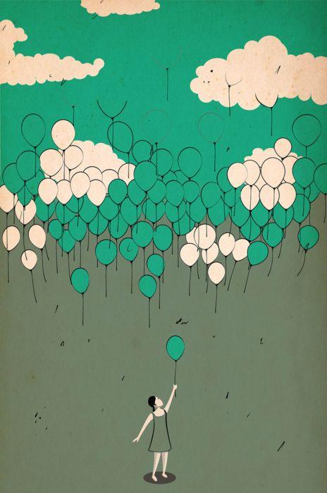 Fabian Luttenberger: Drawings, Design Illustrations Art, Stuff, Balloon Sky, Fabian Luttenberg, Cloud, Graphics, Balloon Illustrations, Jigsaw Puzzles