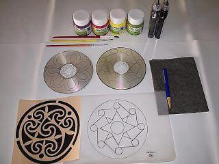 Cogumelos amarelos: Mandala feita com CD