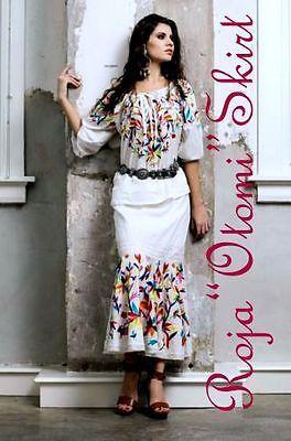 "Roja Primavera.2015! colorido Bordado Mexicano ""Otomi"" Falda"