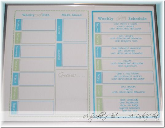 Click here to download a free Dinner Menu Planner and Cleaning Chart #printable {A Sprinkle of This . . . . A Dash of That}