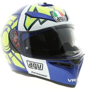 Valentino Rossi 'Kendo' test helmet (2013): Valentino Rossi had a special helmet created to mark his return to Yamaha and it became known as the Kendo design due to the Japanese symbol for Kendo on the rear of the helmet.  The helmet started out in a grey and black colour for the initial winter tests, but as the season drew closer it got an updated blue and yellow design which was seen at the Jerez test sessions.