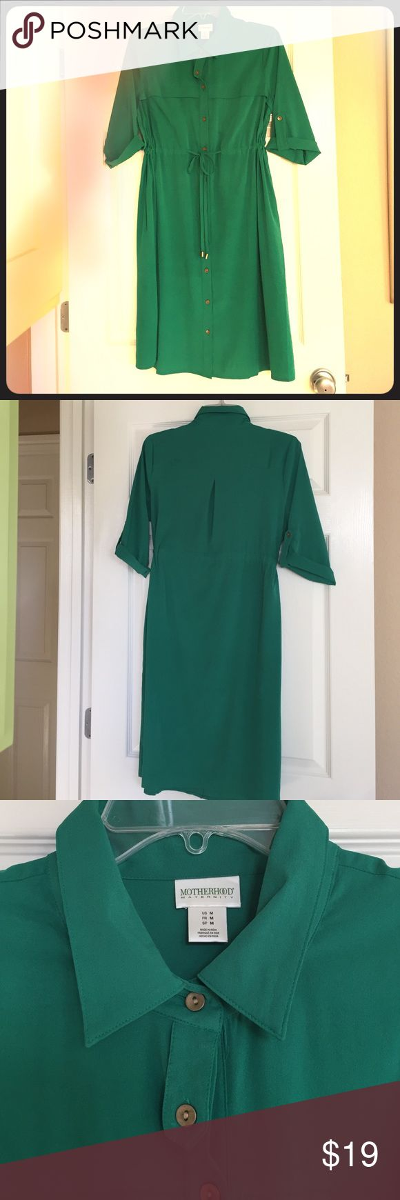 Emerald Green Shirt Dress Button down shirt dress. Forgiving cut. Buttons at rolled sleeves or option to wear long. Tie at waist with metal Motherhood Maternity Dresses