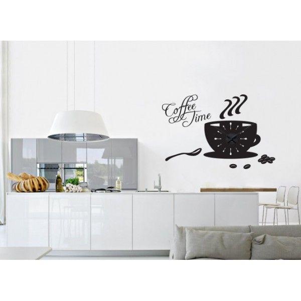 Ora de cafea + ceas perete - http://stickere.net/ora-de-cafea-ceas-perete