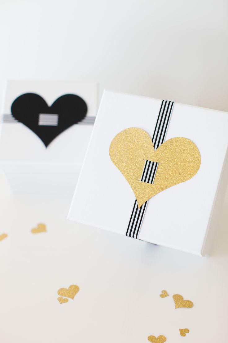 Cricut Explore | Heart of Gold Party designed by The TomKat Studio - Heart Gift Embellishments http://www.thetomkatstudio.com/cricutexploreparty/