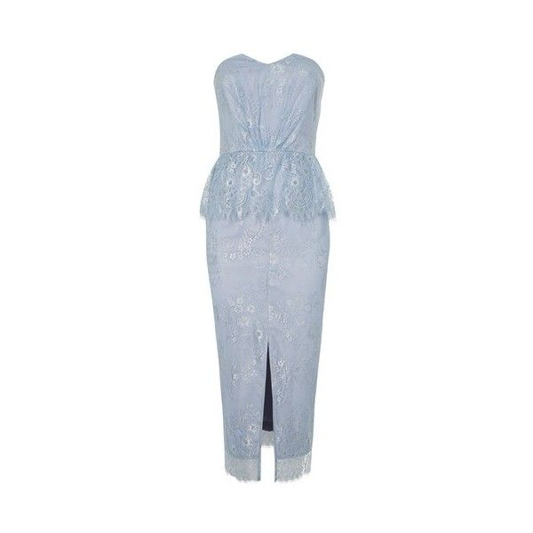 Topshop Bandeau Lace Peplum Midi Dress (1.958.600 IDR) ❤ liked on Polyvore featuring dresses, pale blue, midi dress, sweetheart dress, sweetheart neckline cocktail dress, lace cocktail dress and peplum dress