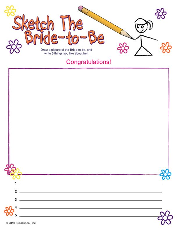 This humorous activity is sure to make it into the bride's scrapbook! Have each guest try to draw a picture of the bride, then list 5 things they like about her. What a great way to get to know the bride better, and even share some sentimental moments with the girls.