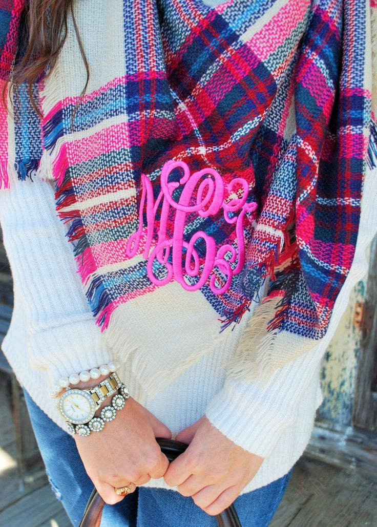 A personal favorite from my Etsy shop https://www.etsy.com/listing/255865046/monogrammed-hot-pink-and-navy-plaid