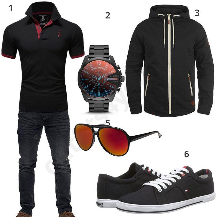 Schwarzes Herrenoutfit mit Poloshirt und Sneakern (m0708) #diesel #tommyhilfiger #brille #outfit #style #herrenmode #männermode #fashion #menswear #herren #männer #mode #menstyle #mensfashion #menswear #inspiration #cloth #ootd #herrenoutfit #männeroutfit