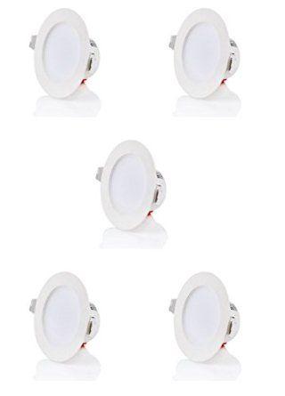 43 € fürs Bad ?! sweet-led set 5 x flache Einbaustrahler LED IP40, 230V, 5W, Nicht schwenkbar, Rund, Weiß, 400 lumen, Warmweiß