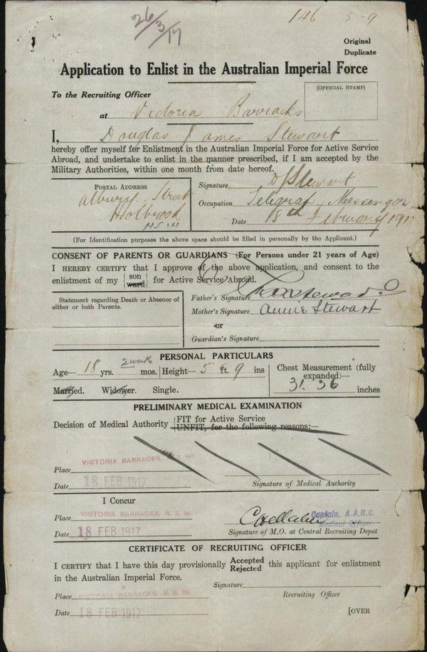 Enlistment form Douglas James Stewart