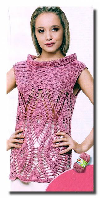 Crochet gold: The long tunic beautiful and simple!  Diagrams