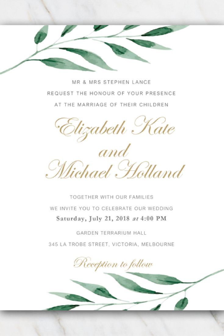 Olive Branch Wedding Invitation Template In 2019 Free