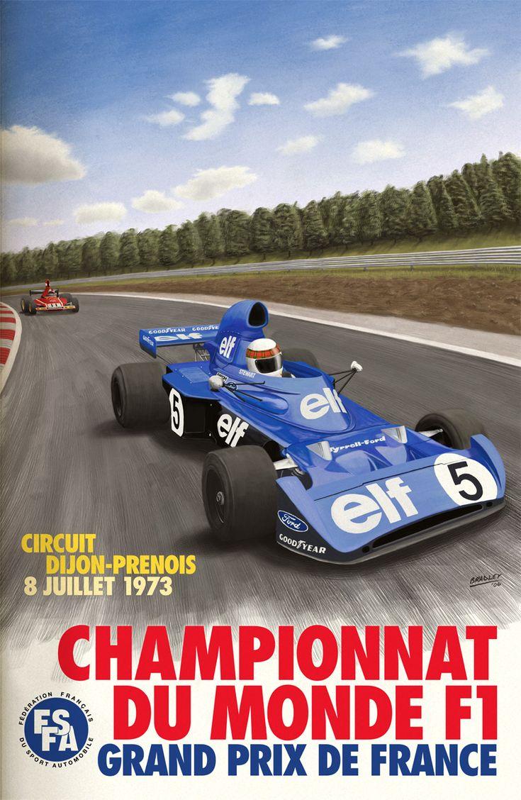 Cars silver racer poster 2 - Dijon Prenois French Grand Prix 1973 Poster By Georgia Fowler