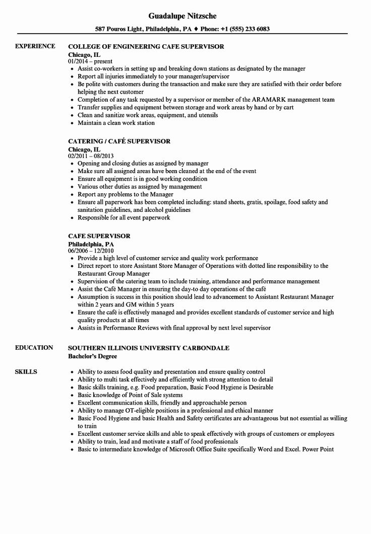 cafe manager resume examples