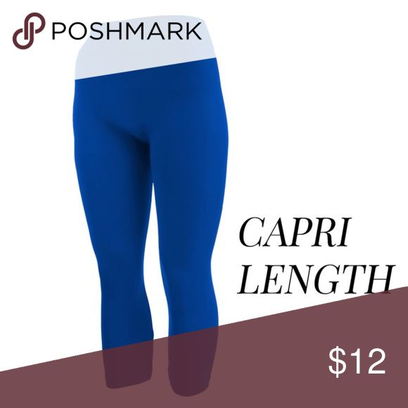 Royal Blue Leggings summer-weight capris are seamless, chic, and a must-have for every wardrobe. These lightweight, interchangeable styles are versatile, perfect for layering. Smooth fabric, 92% Nylon 8% Spandex. fits US women's 0-14.  Available In: Royal Blue, Khaki, and Navy Khloe Bear Boutique Pants Leggings