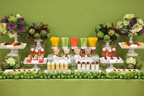 veggie + fruit dessert tablescape: Buffet Tables, Wedding Desserts Tables, Wedding Food, Veggie Bar, Desserts Bar, Parties Ideas, Veggies Bar, Fruit Bar, Food Bar