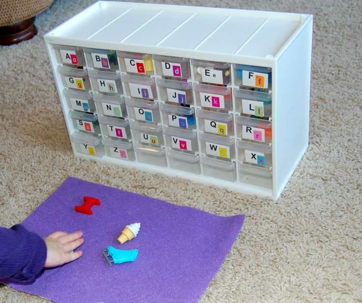 phonics work- each drawer containing first sounds
