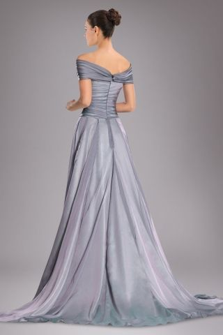 Beauteous Off-the-shoulder Military Ball Dress with Court Train