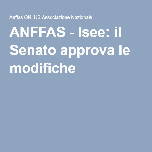 ANFFAS - Isee: il Senato approva le modifiche